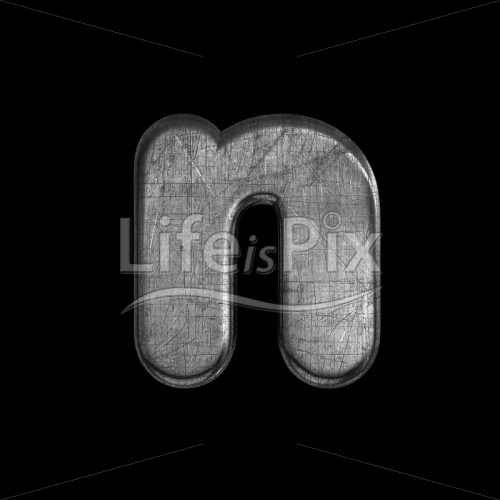 brushed metal font N – Lower-case 3d character – Royalty free stock photos, illustrations and 3d letters fonts