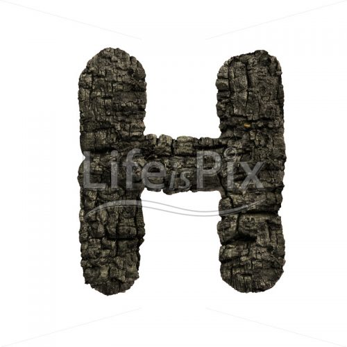 charred wood letter H – large 3d font – Royalty free stock photos, illustrations and 3d letters fonts