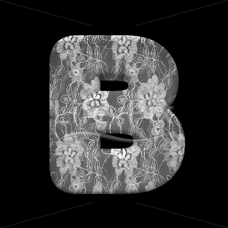 lace letter B   3d large font on black background