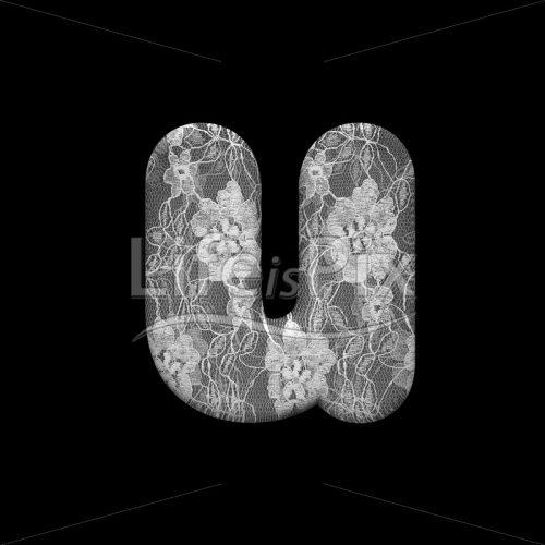 lace letter U – Lower-case 3d font – Royalty free stock photos, illustration