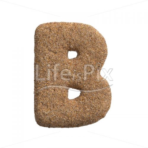 Sand letter B – large 3d character – Royalty free stock photos, illustrations and 3d letters fonts