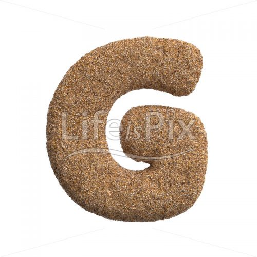 Sand letter G – large 3d letter – Royalty free stock photos, illustrations and 3d letters fonts