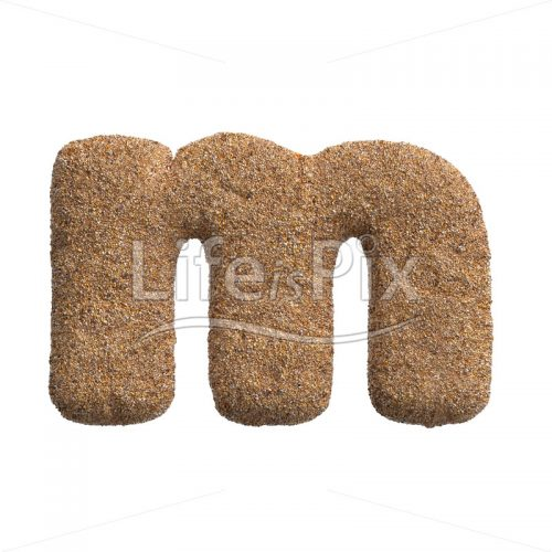 Sand letter M – Small 3d character – Royalty free stock photos, illustrations and 3d letters fonts