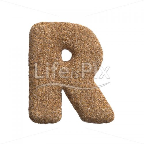 Sand letter R – Capital 3d character – Royalty free stock photos, illustrations and 3d letters fonts