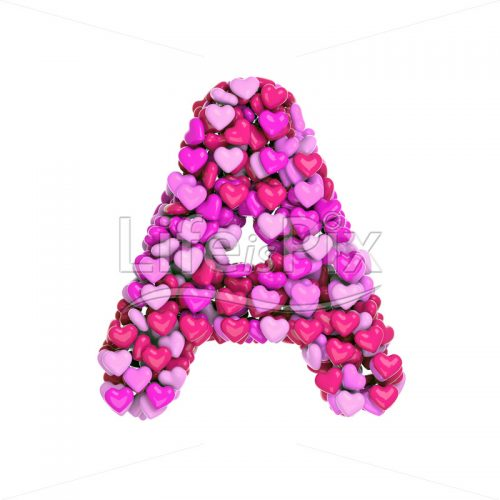 Love letter A – Uppercase 3d font – Royalty free stock photos, illustrations and 3d letters fonts