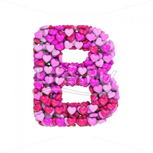 Valentine letter B – large 3d character – Royalty free stock photos, illustrations and 3d letters fonts