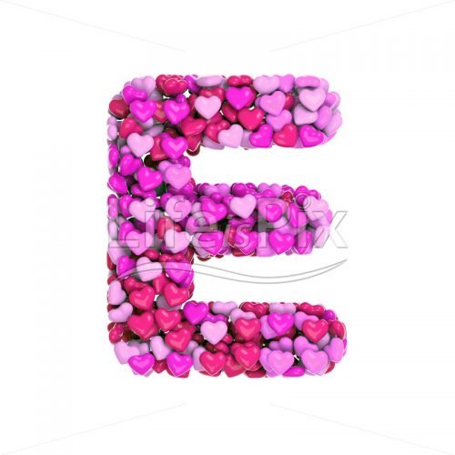 Valentine letter E – large 3d font – Royalty free stock photos, illustrations and 3d letters fonts