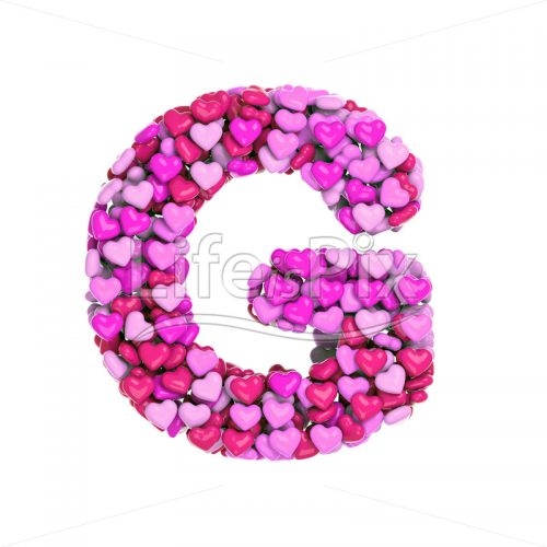 Valentine letter G – large 3d letter – Royalty free stock photos, illustrations and 3d letters fonts