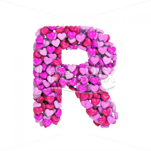 Valentine letter R – Capital 3d character – Royalty free stock photos, illustrations and 3d letters fonts