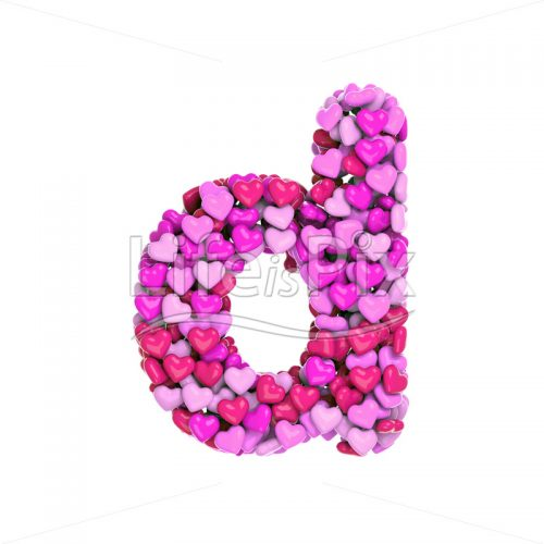 Valentine's day font D – Small 3d character – Royalty free stock photos, illustrations and 3d letters fonts