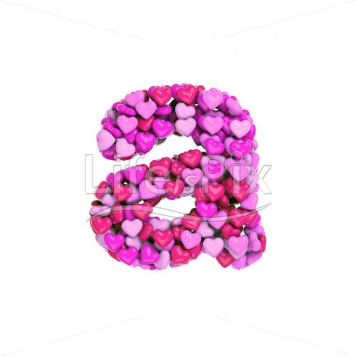 Valentine's day letter A – Small 3d character – Royalty free stock photos, illustrations and 3d letters fonts