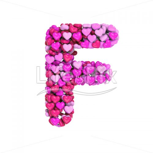 Valentine's day letter F – Capital 3d character – Royalty free stock photos, illustrations and 3d letters fonts