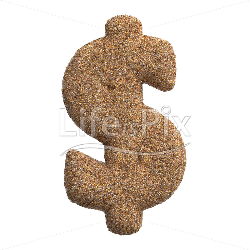 beach Dollar currency symbol – 3d Business symbol – Royalty free stock photos, illustrations and 3d letters fonts