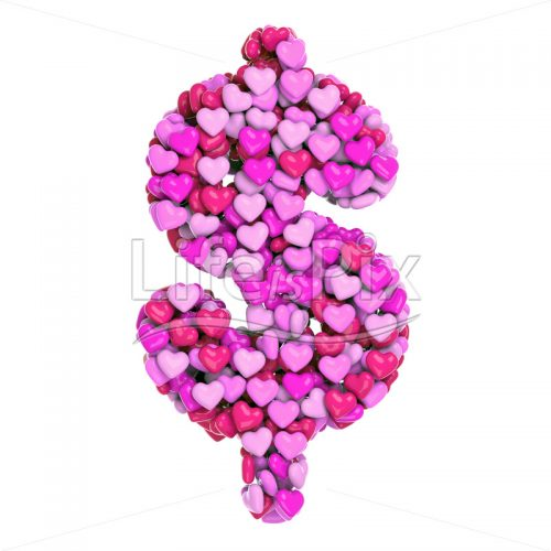 pink hearts Dollar currency symbol – 3d Business symbol – Royalty free stock photos, illustrations and 3d letters fonts