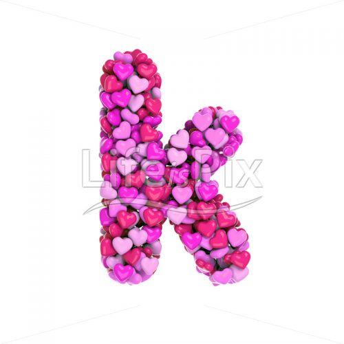 pink hearts letter K – Lower-case 3d font – Royalty free stock photos, illustrations and 3d letters fonts