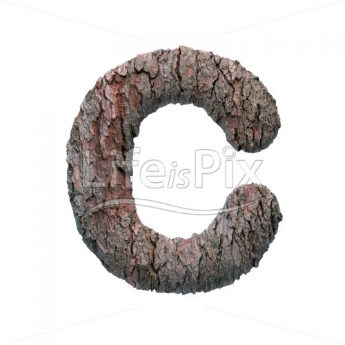 pine bark letter C – large 3d character – Royalty free stock photos, illustrations and 3d letters fonts