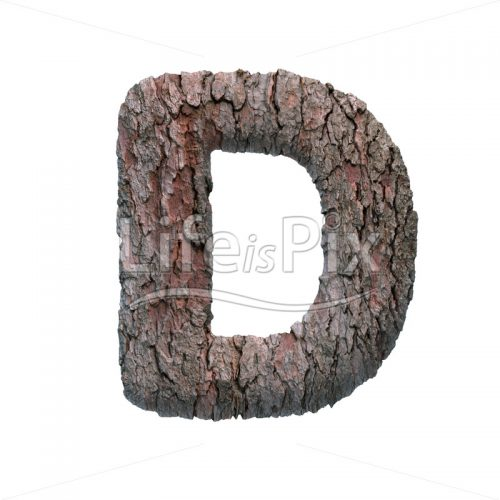 pine bark letter D – Uppercase 3d letter – Royalty free stock photos, illustrations and 3d letters fonts