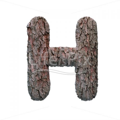 pine bark letter H – large 3d font – Royalty free stock photos, illustrations and 3d letters fonts
