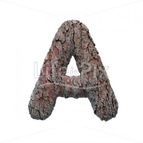tree bark letter A – Uppercase 3d font – Royalty free stock photos, illustrations and 3d letters fonts
